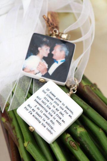 "Photo Memorials with Custom text.  Medium 1"" Bridal Bouquet memorial charms"