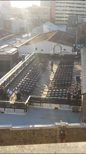 200 person ceremony setup on the Rooftop