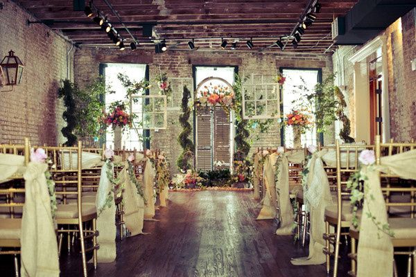 Rustic ceremony setup in the Orleans Room.