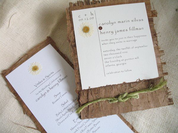 Handmade papyrus bark sets the tone for these unique invitations. Textured soft white stock is...