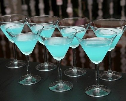 Blue cocktail drinks