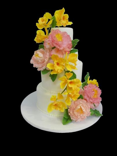 Three tier cake with large flowers
