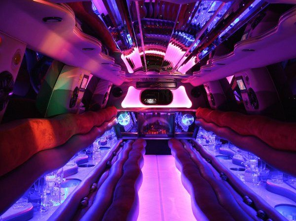 This is the inside of of custom 22 passenger Cadillac Escalade.