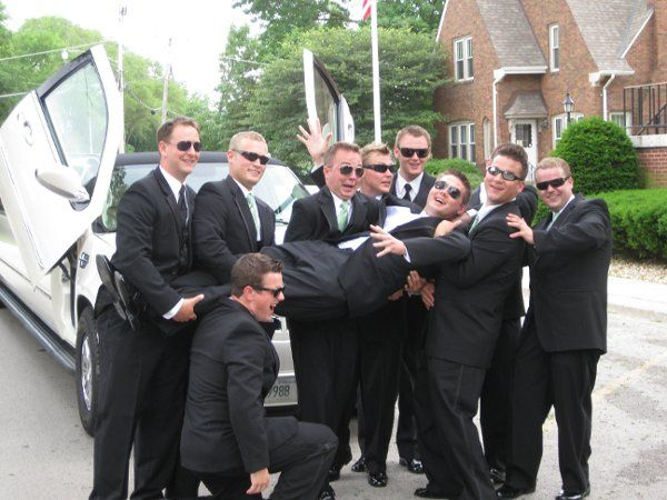 We got the groom to the church, now his boys have to do the rest!