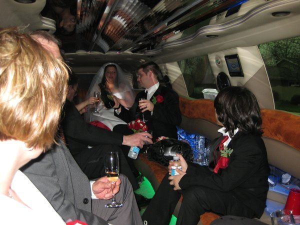 Notice the FREE bottle of Dom Perignon we gave the bridal party. Compliments of Limos Without...