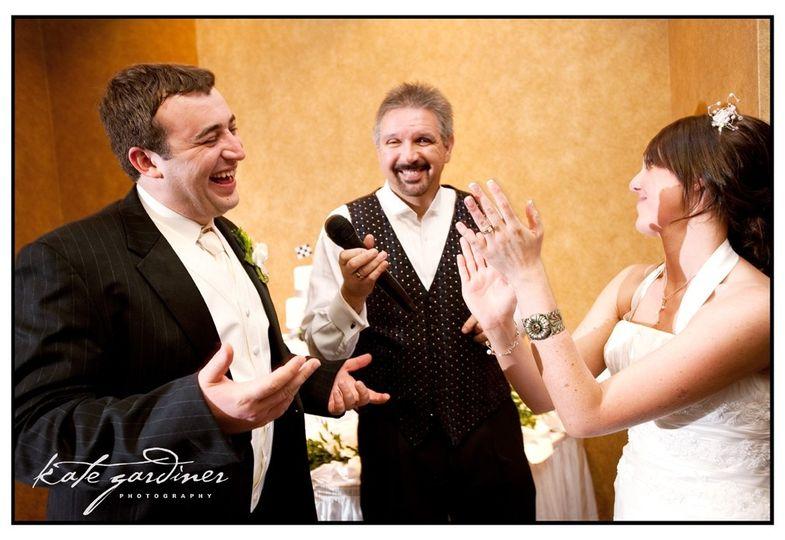 bill jokes with bride groo
