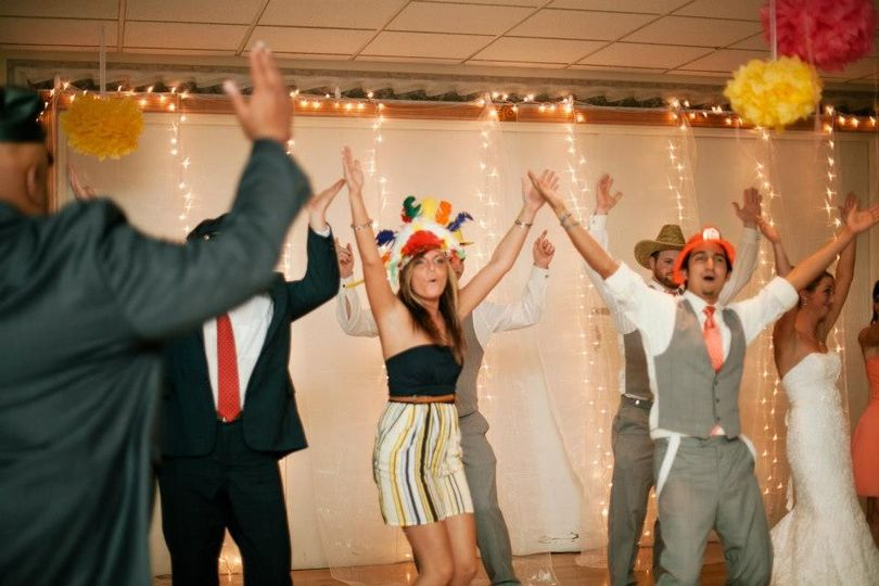 YMCA with party props