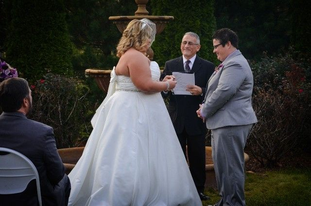 Exchanging rings at Valenzano Winery in Shamong, NJ.