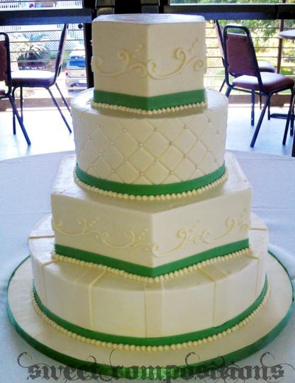 An elegant display in green and ivory.