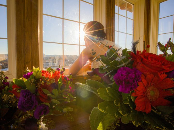Tmx 1458232143441 Bride With Flowers And Sun Anacortes, Washington wedding venue
