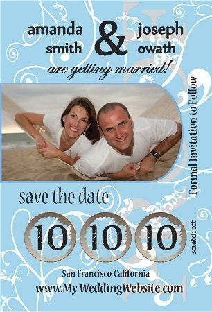 """4"""" x 6"""" Single Sided Custome Scratch Off Wedding Save the Date Design 3"""