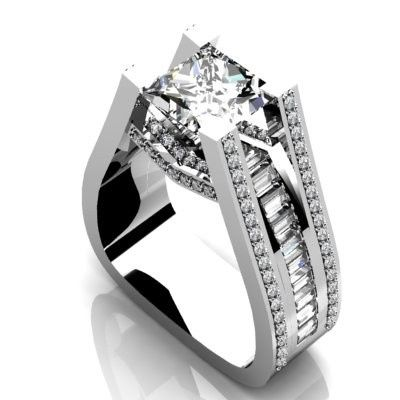 Custom and modern diamond engagement ring.  Princess cut diamond center stone with baguettes channel...