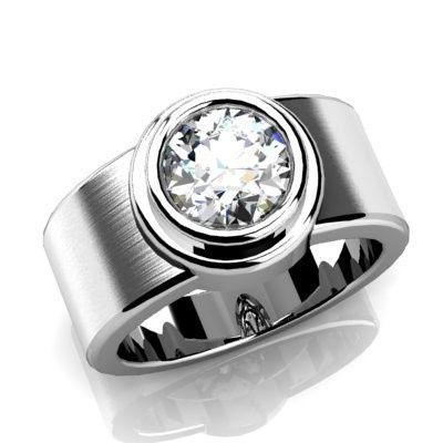 Modern diamond engagement ring.  White gold or platinum.  Bezel set center diamond with brush...
