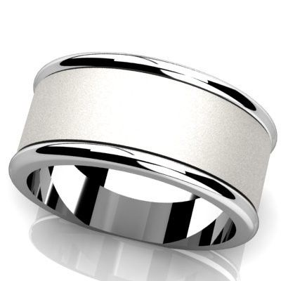 Simple and classic men's wedding band with brush finish down the center and polished sides.