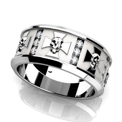 Custom modern men's wedding band with channel set round diamonds and skull pattern around.