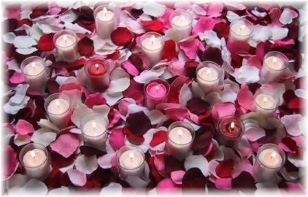 Silk rose petals with candles from Petal Garden