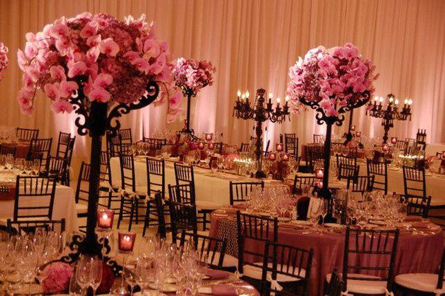 pink black wedding centerpieces 3