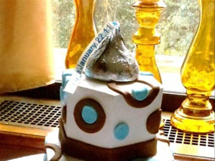 Tmx 1465511154251 Choc Brown  Baby Blue Circles Sykesville wedding cake