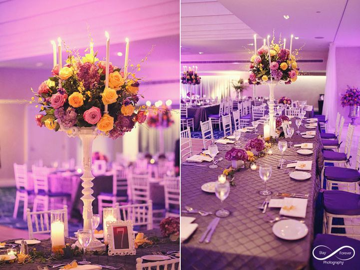 royal table tall centerpiece purple yellow stay forever photography