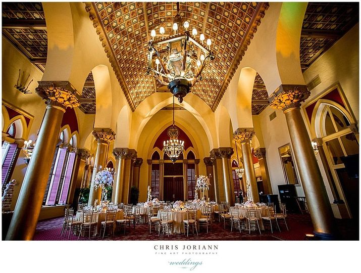 cathedral room gold linen chivari chairs tall cent