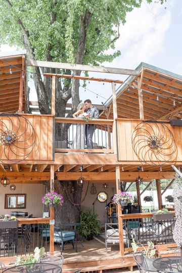 Two story tree house deck
