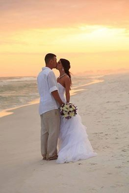 Sunset kiss at the beach