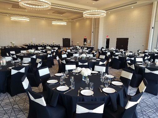 Black and white reception tables