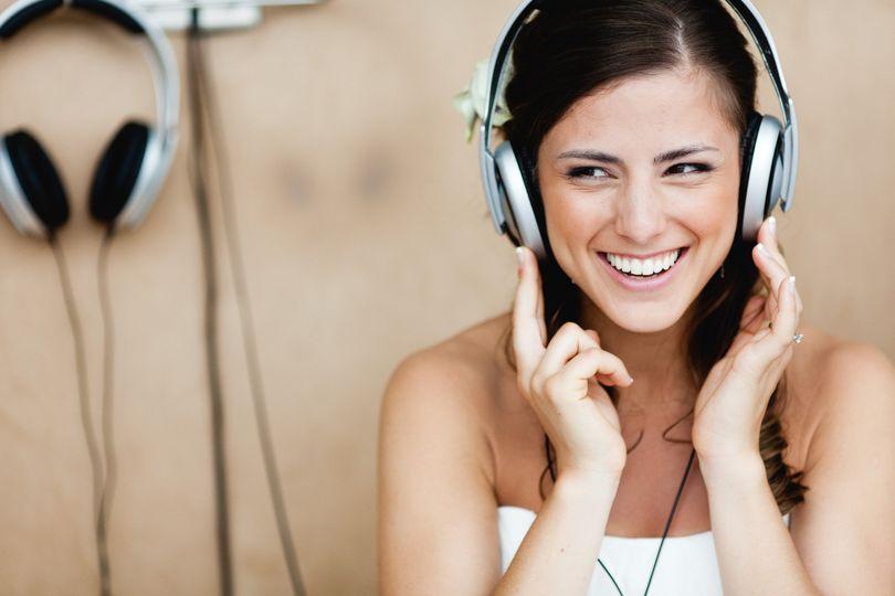 Bride listening to music