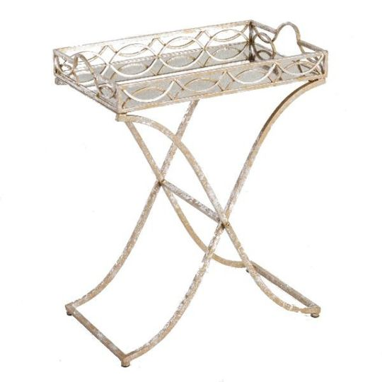 gold and white metal folding tray
