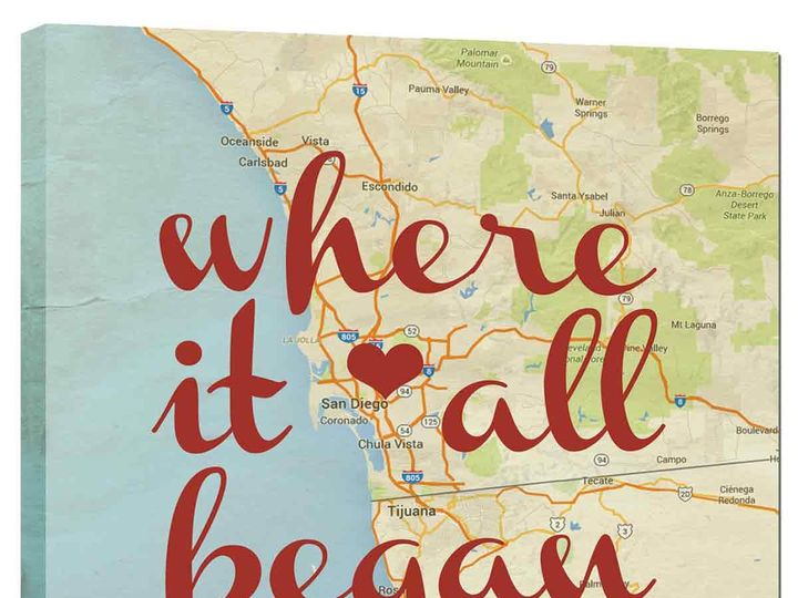 Tmx 1458056229550 Personalized Couples Map Heart Began Canvas Gift Easton wedding favor