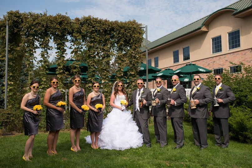 Bride with bridesmaids and groomsmen