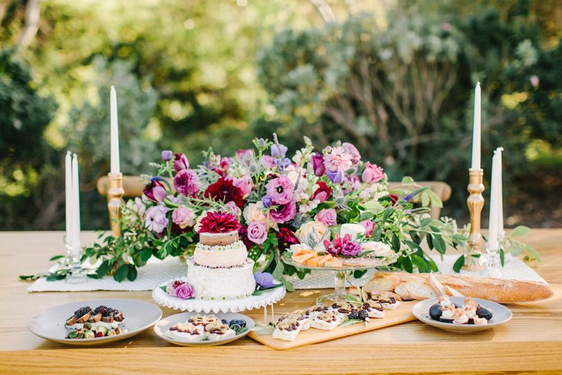 Floral centerpiece and food display