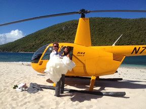 Fly away to a private island via helicopter for your destination wedding in the Virgin Islands. We...