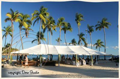 Set up for a beach wedding reception at Bolongo Bay, St. Thomas.
