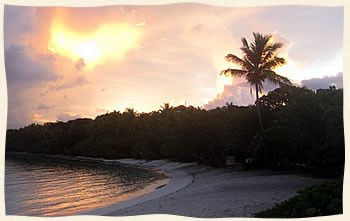 Sunset at beautiful Lindquist Beach, St. Thomas.
