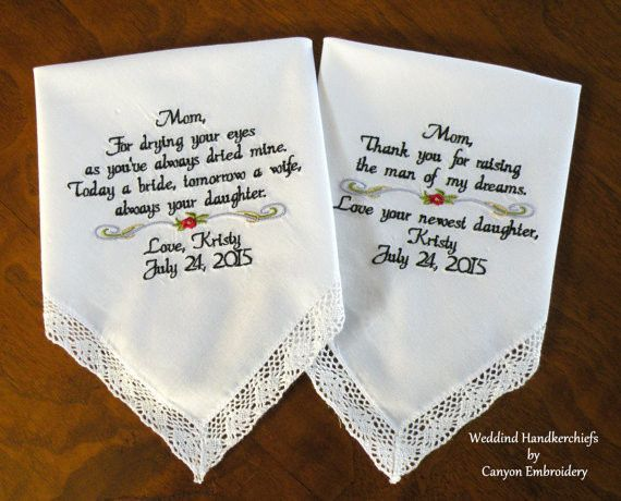 Stepmother of the Bride StepMom  A special place in my heart you will always have  Embroidered Wedding Handkerchief By Canyon Embroidery