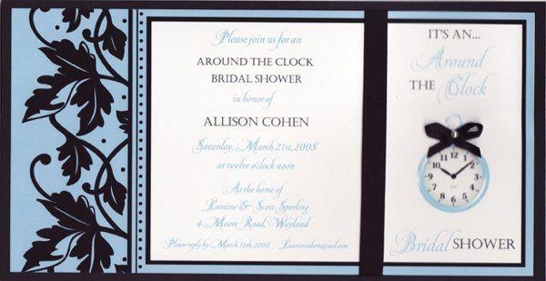 Tmx 1226622034487 AroundtheClockblueandblack Natick wedding invitation