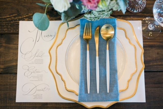 Menu place mat and cutlery