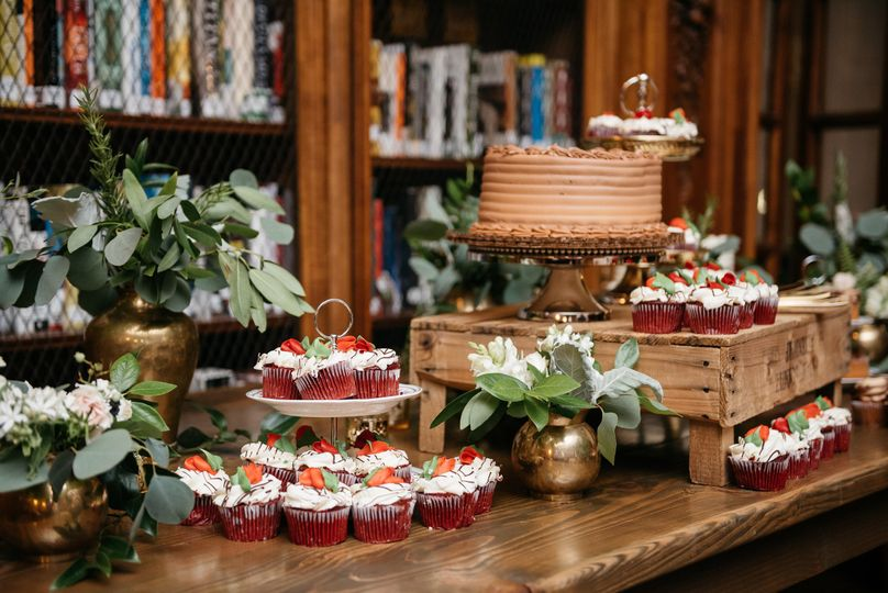 Enjoy a casual dessert course with a cake buffet in our Library
