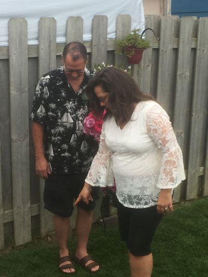 Intimate Backyard wedding ceremony in Grand Rapids MIchigan.