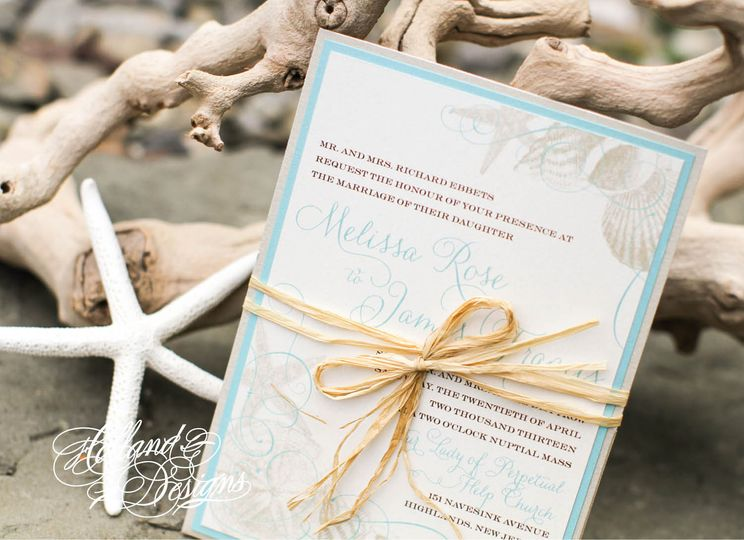 Baby blue borders with brown ribbon