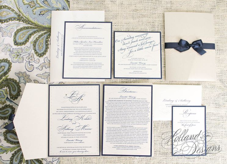 Full set with navy blue borders