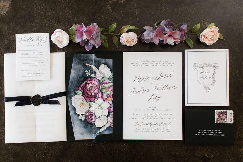 Letterpress and vellum invite