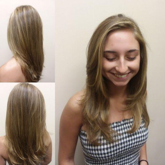 Haircut and highlights