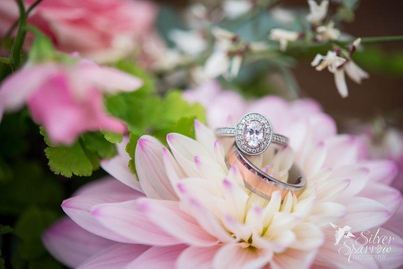 Vintage Wedding Rings on Flower