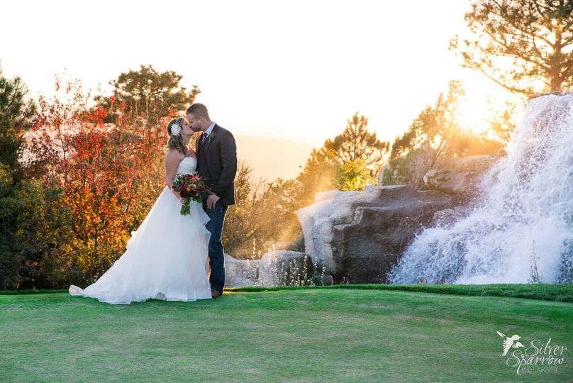 Sunset photo with waterfall at Sanctuary Golf Course