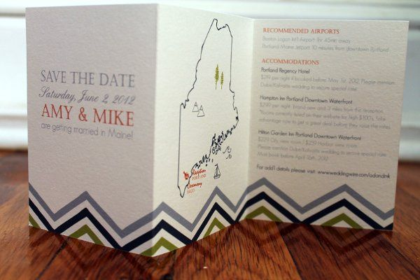 Map save the date in trifold format