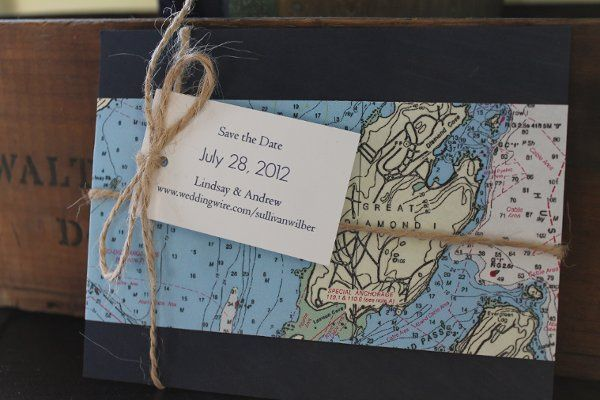Nautical map save the date