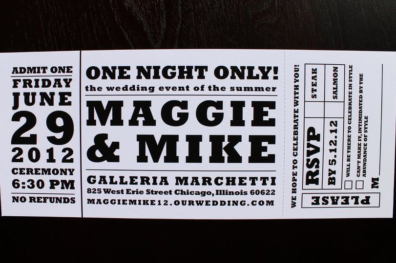 Concert ticket wedding invitation