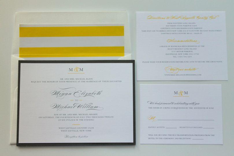 Classic monogram wedding invitation